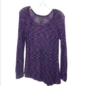 Rock & Republic Semi Sheer Sweater Large Purple